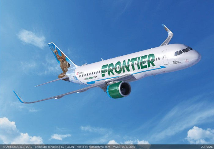 A rendering of a Frontier Airlines plane in flight