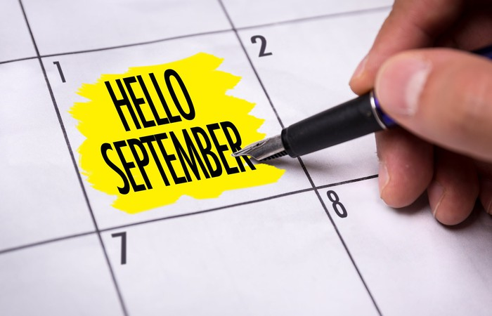 "Calendar with ""Hello September"" highlighted in yellow on the square for day 1"