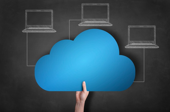 A diagram of a cloud connected to three laptops