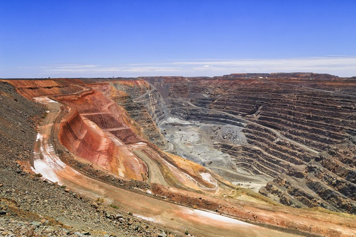A vast open pit mining operation.