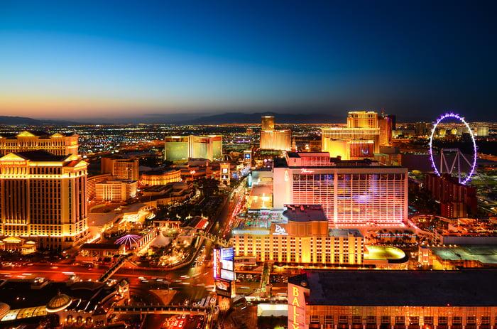 Ariel view of Las Vegas.