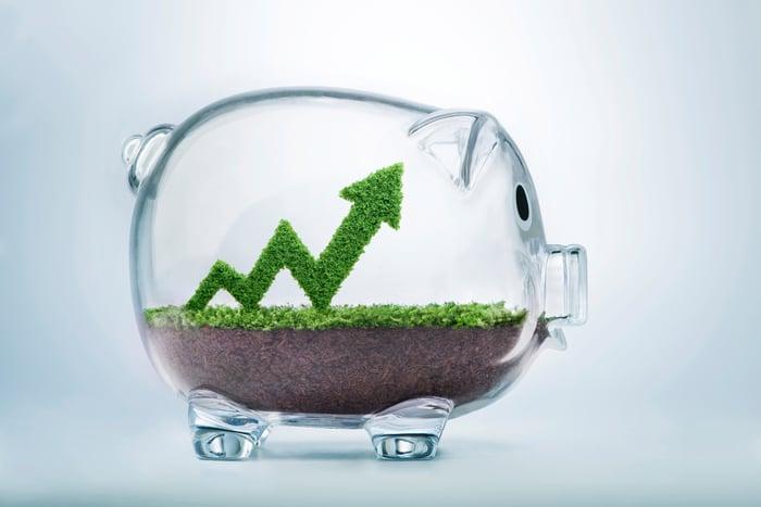 Glass piggy bank with upward chart inside.