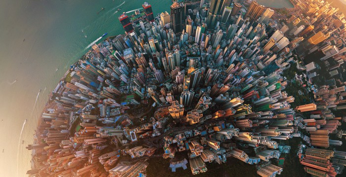 An aerial fish-eye view of Hong Kong.