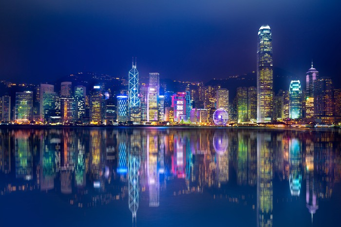 The skyline of Hong Kong.