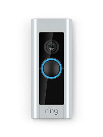 A silver Ring doorbell.