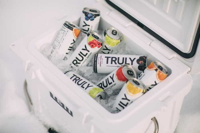 Cans of Truly hard seltzer.