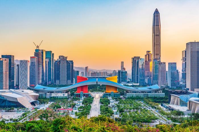 Skyline of Shenzen, China.