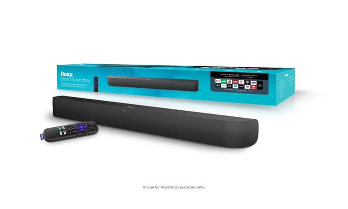 Roku Smart Soundbar next to a remote and product packaging