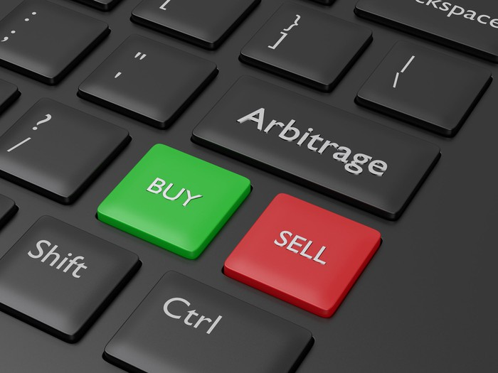 Buy, Sell, and Arbitrage buttons on a keyboard