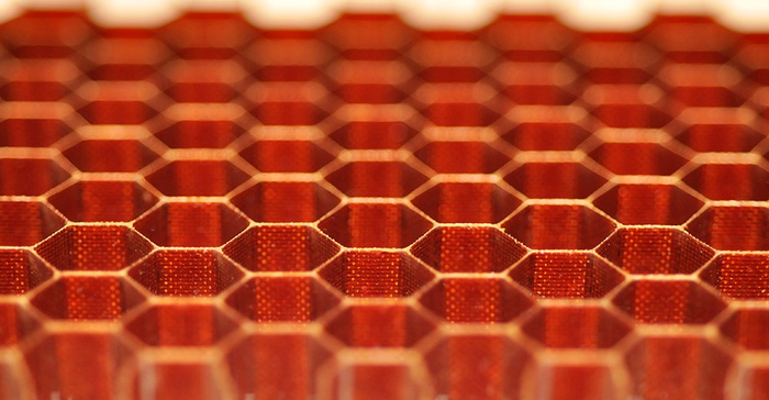 Honeycomb-like materials made from carbon fiber.