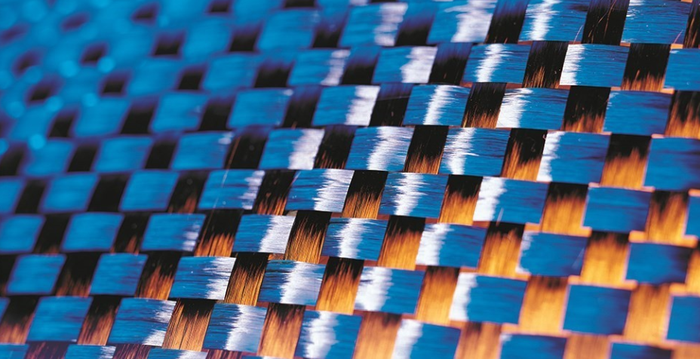 Close-up of carbon fiber fabric.