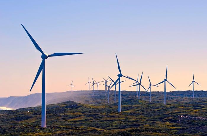 Wind turbines along the coast.