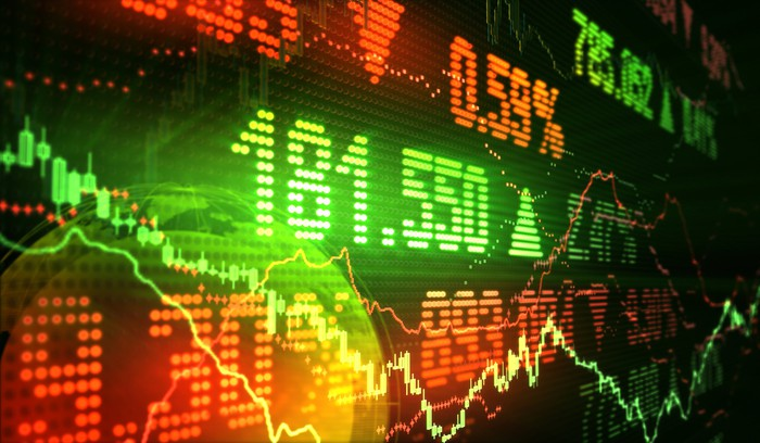 Stock market prices and charts in red and green on a colorful LED display.