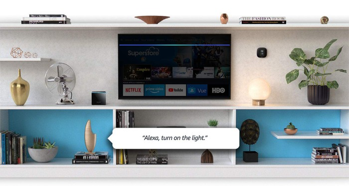 The Amazon Fire TV cube in a living room.
