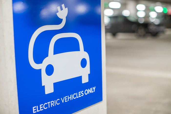 A sign that reads Electric Vehicles Only, with a car and an electric cord on it.
