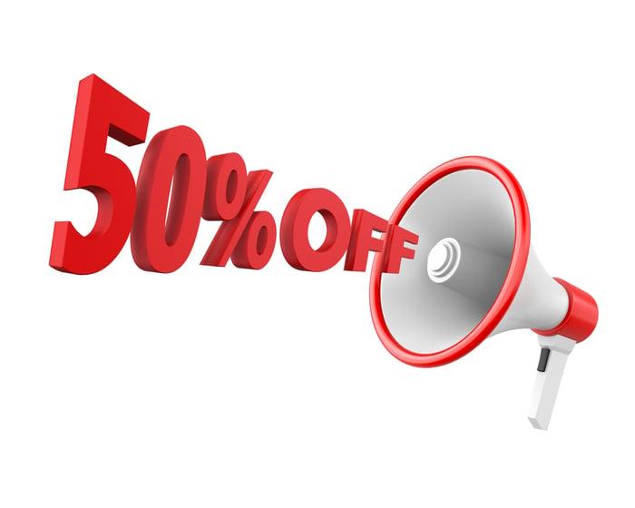 Bullhorn blaring 50% off