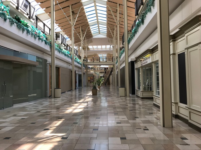 A deserted mall corridor at Exton Square Mall