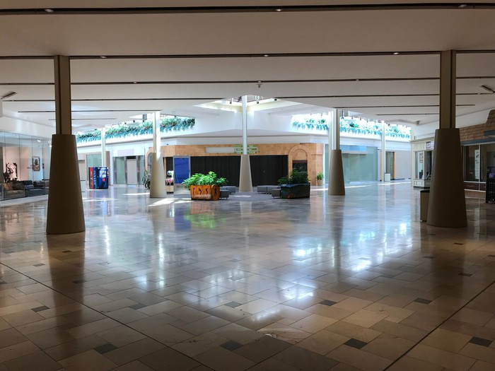The deserted interior of Exton Square Mall