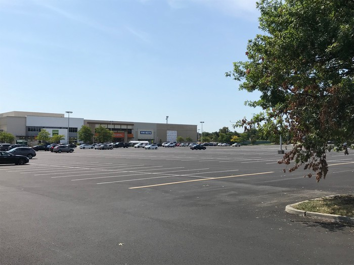 A mostly empty parking lot at Moorestown Mall