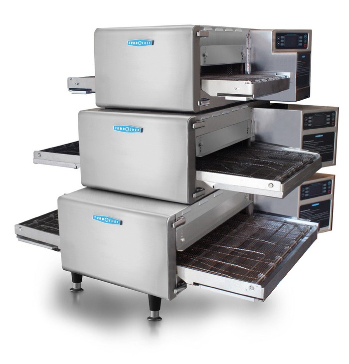 A stack of three TurboChef Conveyor ovens.