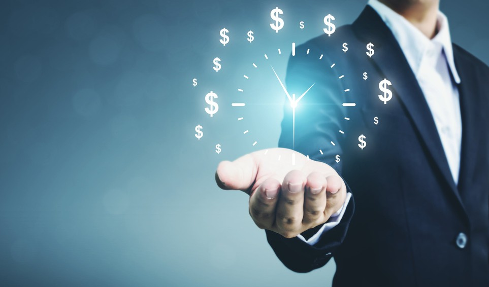 Businessman with images of clock and dollar symbols