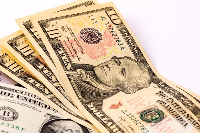 Stack of 10-dollar bills.