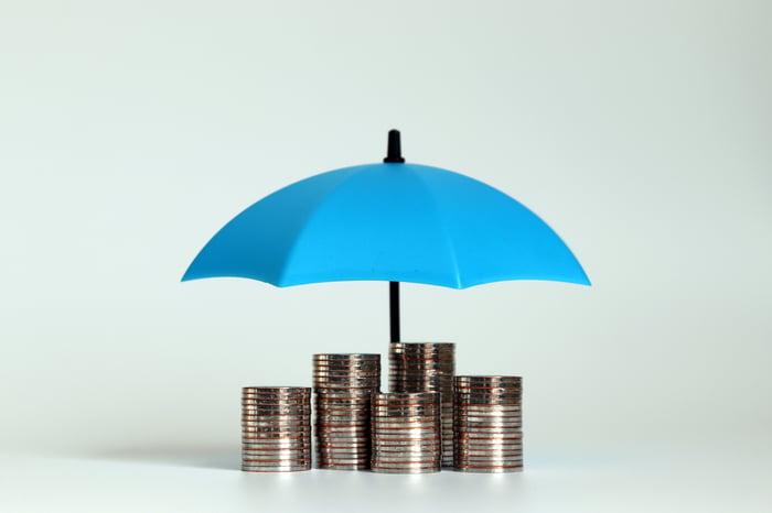Miniature blue umbrella over piles of coins.