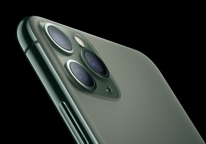 Side view of iPhone 11 Pro in green.