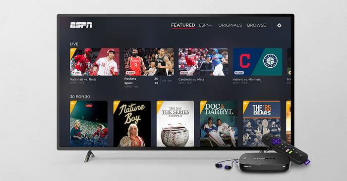 ESPN running on a Roku TV operating system.