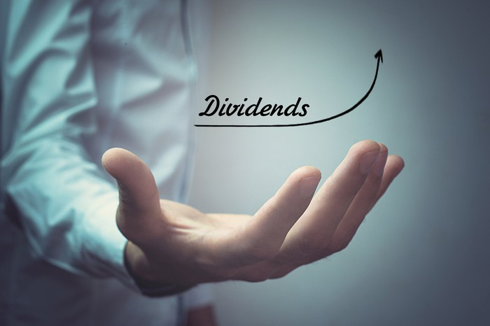 A person's hand cups an animation that says the word dividends with an upward-sloping arrow.