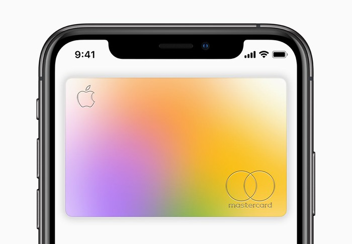 the Apple Card is shown on the screen of an Apple iPhone