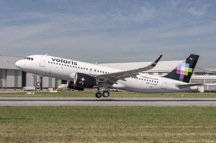 A Volaris airplane taking off