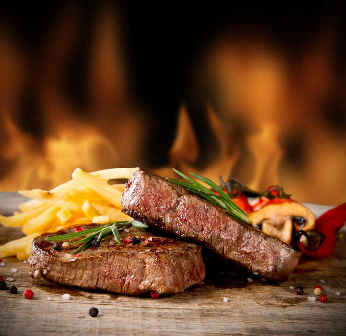 A steak dinner.