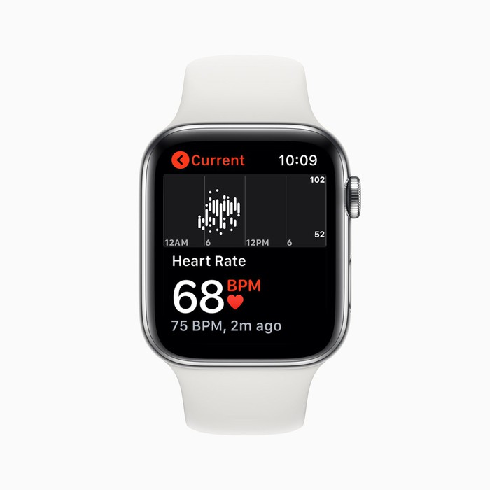 The face of an Apple Watch showing the users heart rate of 68 beats per minute.
