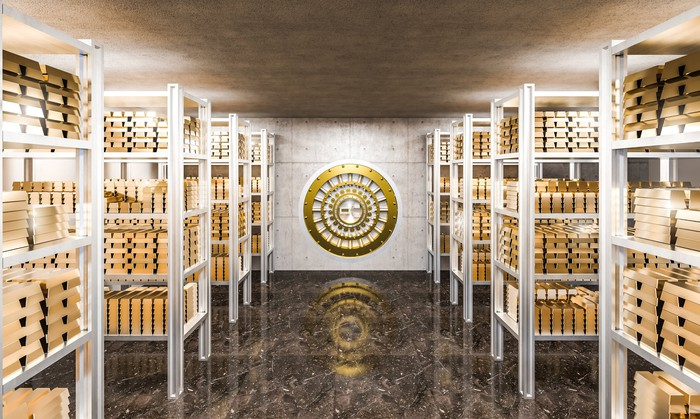 Gold ingots in a vault