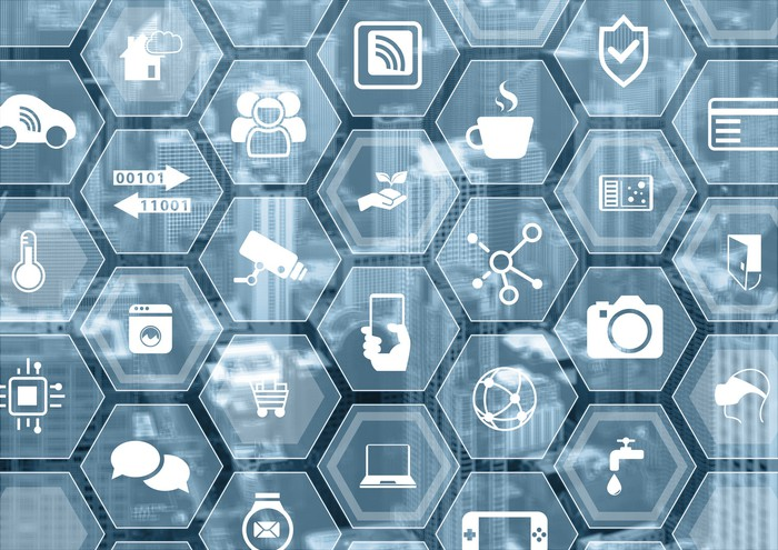 Icons representing various components of the Internet of Things, on hexagonal tiles