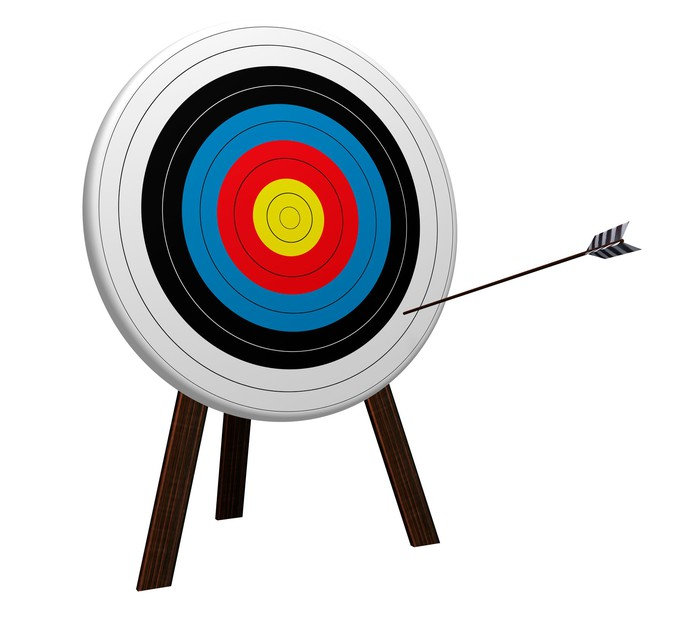 An arrow on the outer edge of a target.