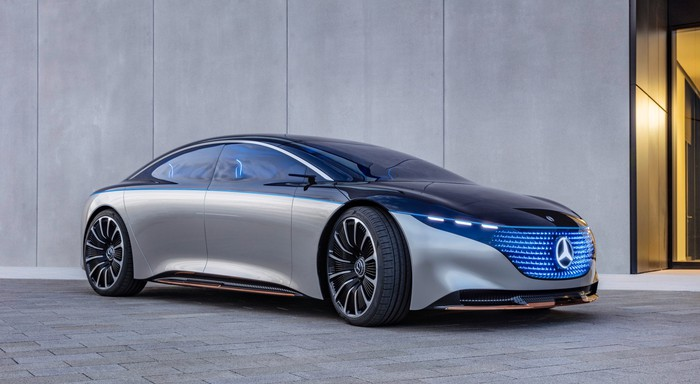 The Mercedes-Benz Vision EQS, a large, futuristic-looking luxury sedan.