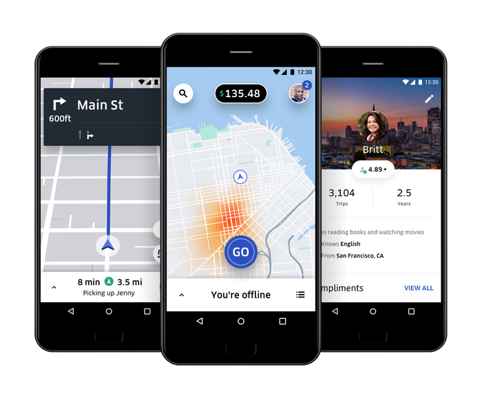 Examples of Uber Driver app.