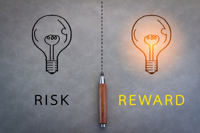 A pencil sits at the end of a dotted line dividing an illustration of two light bulbs. One reads risk, and the other, illuminated, reads reward.