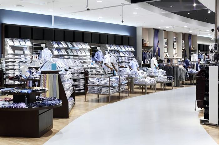 Merchandise displays in a department store