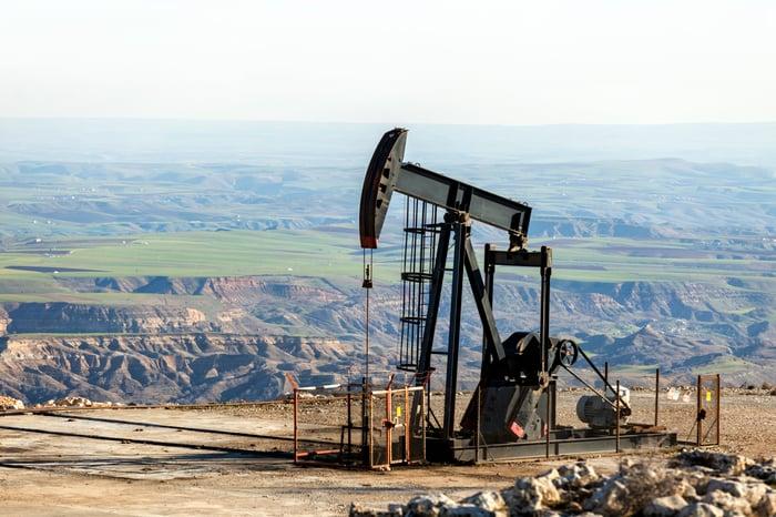 View of a pumpjack in an oilfield