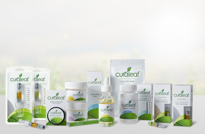 A set of Curaleaf products, including tablets.