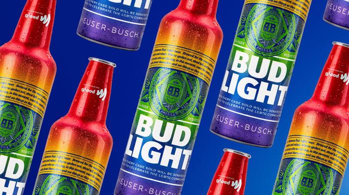 Rainbow-colored Bud Light bottles.