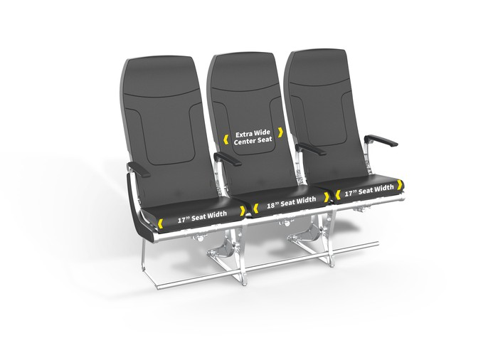 A rendering of a row of the new Spirit Airlines economy-class seats
