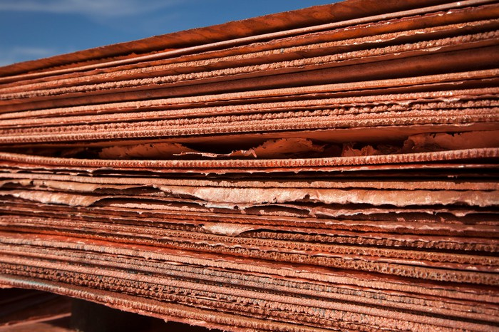 Pile of copper sheets stacked on top of each other.