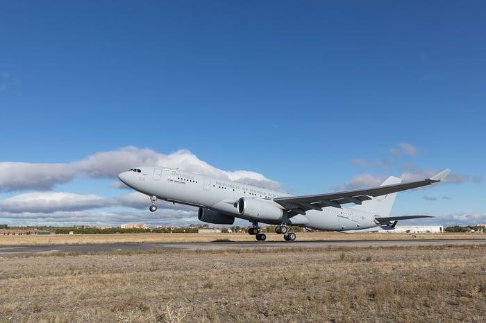 An Airbus A330 tanker landing.