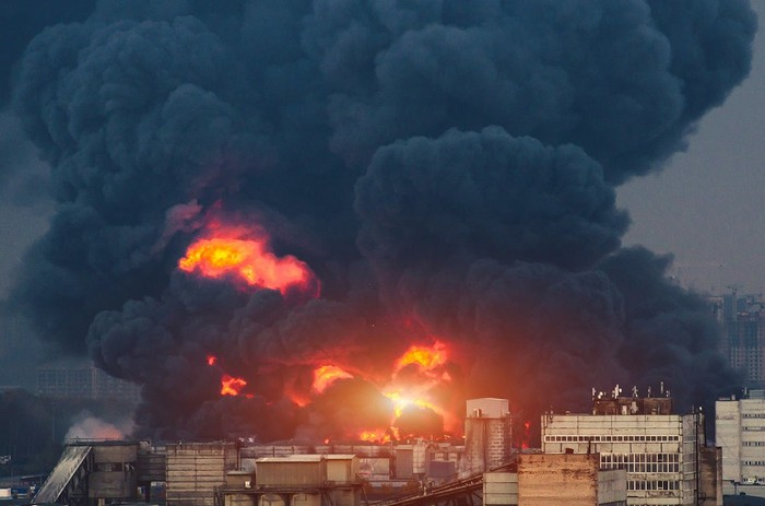 An explosion and fire at an oil facility.