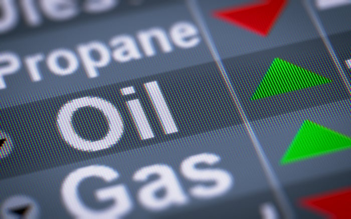 LED display showing the price of oil, gas, and propane with red and green arrows indicating gains or losses.