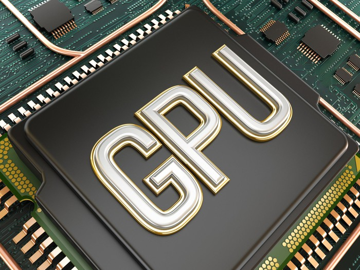 "Graphics processing unit with ""GPU"" on it."